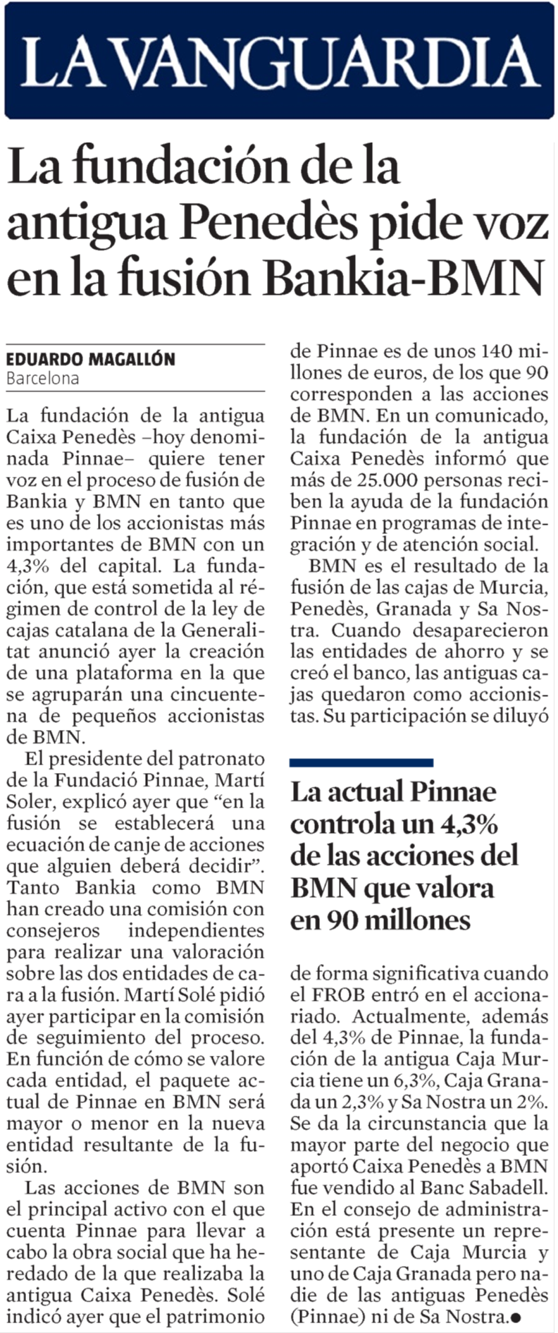 2017-04-27 La Vanguardia - La fundación de la antigua Penedès pide voz en la fusión Bankia-BMN